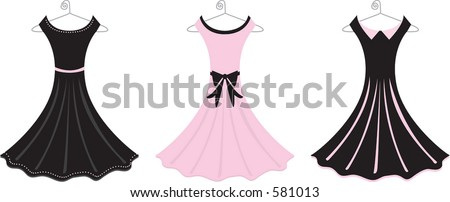 Vector illustration of fancy formal dresses.