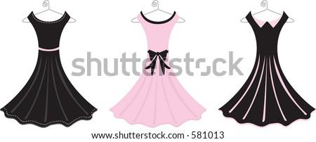 Vector illustration of fancy formal dresses. - stock vector