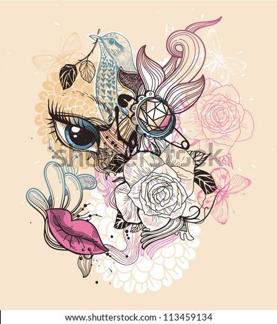 vector  illustration of fantasy floral girl - stock vector