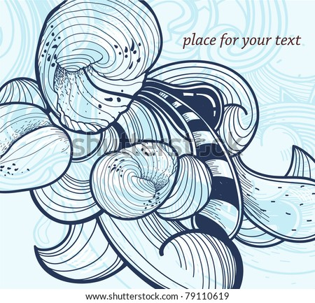 vector illustration of fantasy shells and waves - stock vector