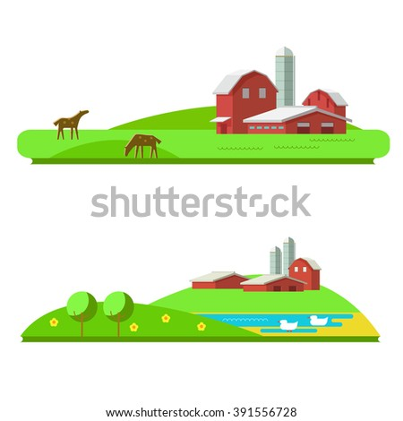 Vector illustration of farm landscape in flat design. Horse farm on a white background. Poultry farm on isolated. Rural landscape with a farm, hills and animals: horse and duck - stock vector