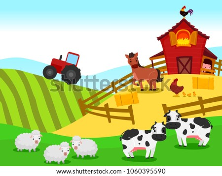 Vector Illustration Of Farm With Barn And Animals Background