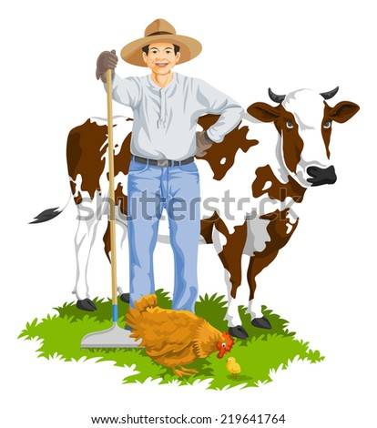 Vector illustration of farmer with hen and cow at farm. - stock vector