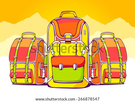 Vector illustration of fashion backpacks on yellow summer background. Hand draw line art design for web, site, advertising, banner, poster, board and print.