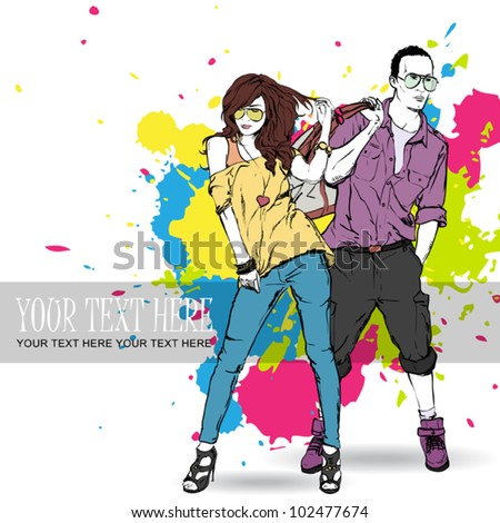 Vector illustration of fashion girl and stylish guy in sketch style . Place for your text. - stock vector