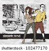Vector illustration of fashion girl and stylish guy on a street-background . Place for your text. - stock vector