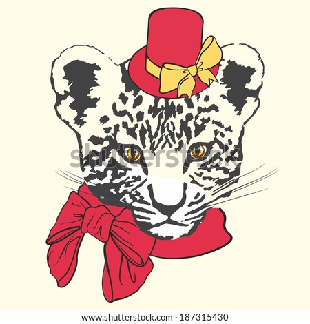 Vector illustration of fashion leopard with red hat, scarf and bows on white background - stock vector