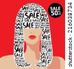 Vector illustration of fashion, shopping, sale, typography - stock vector