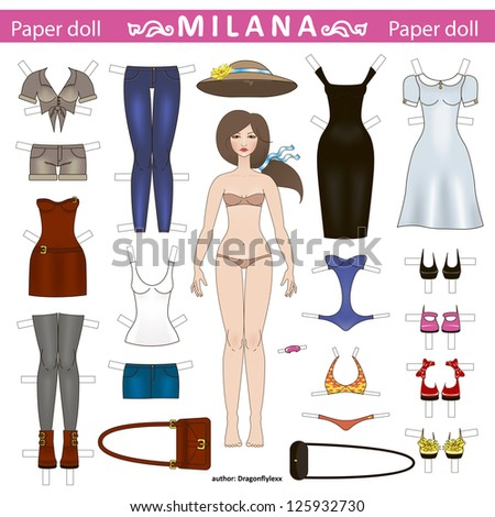 vector illustration of fashionable paper doll with a set of clothes for girls games - stock vector