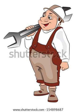 Vector illustration of fat repairman carrying a big spanner.