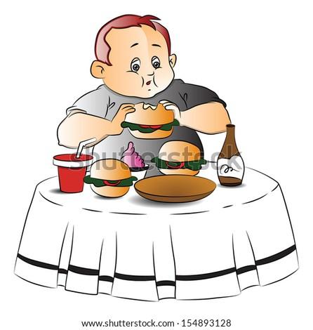 Vector illustration of fat teen boy eating burger at restaurant. - stock vector