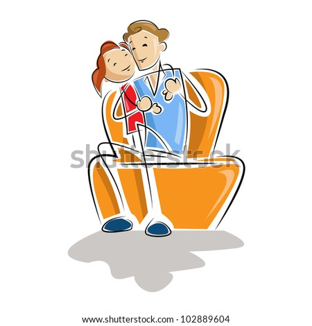vector illustration of father and daughter sitting in sofa - stock vector