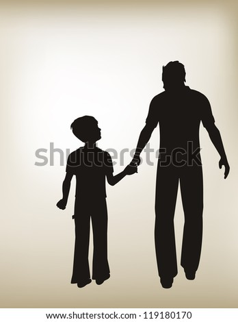 vector illustration of Father and Son Holding Hands with a gradient mesh vintage shaded background./ Father and Son Holding Hands - stock vector