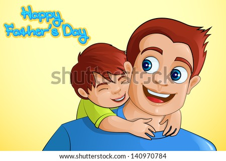 vector illustration of father and son in Father's Day background - stock vector