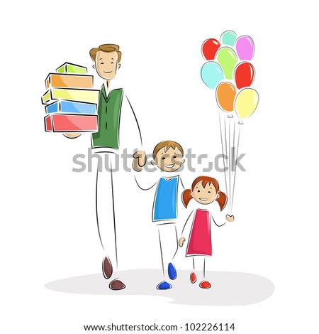 vector illustration of father doing shopping with kids - stock vector