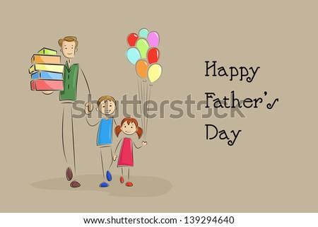 vector illustration of father doing shopping with kids in Father's Day background - stock vector