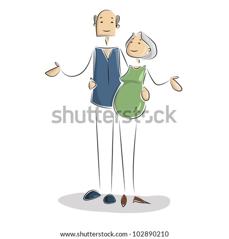 vector illustration of father,mother with grandparents - stock vector