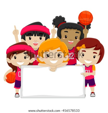 Vector Illustration of Female Basketball Players holding a Blank Board