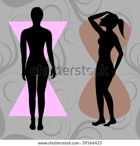 Vector Illustration of female body shape hourglass. Shape with balanced curves. - stock vector