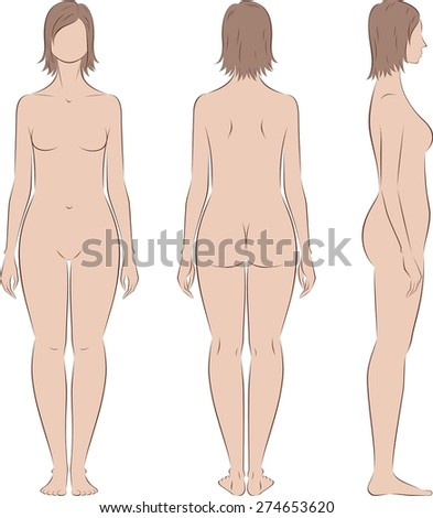 Vector illustration of female silhouette. Body type with increased fat deposition and musculature in the lower body. Front, back, side views - stock vector