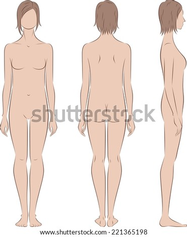 Vector illustration of female silhouette. Body type with poorly developed fat deposition and musculature. Front, back, side views - stock vector