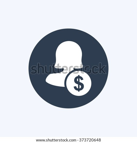 Vector illustration of female user earnings icon . Could be used as menu button, user interface element template, badge, sign, symbol, company logo, mobile application element - stock vector