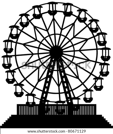 vector illustration of ferris wheel - stock vector