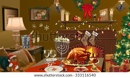 Vector illustration of festive christmas home with fireplace and turkey on dinner. - stock vector