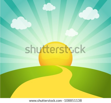 Vector illustration of field and sunrise sky - stock vector