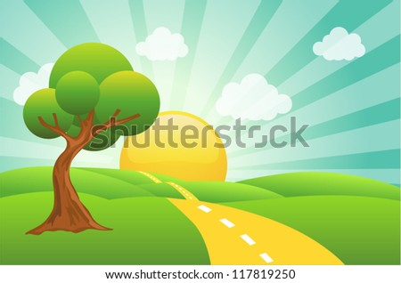 Vector illustration of field, tree and sunrise sky - stock vector
