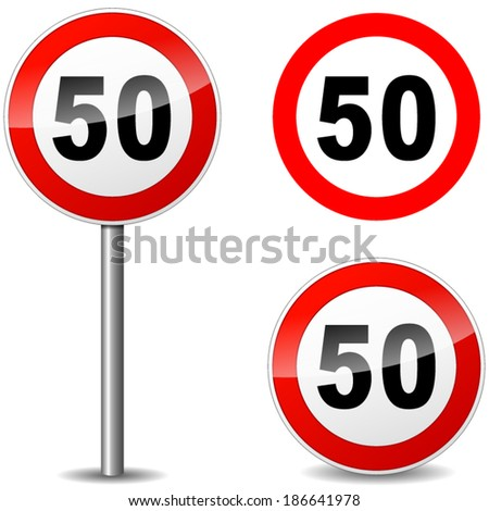 Vector illustration of fifty regulation sign on white background - stock vector