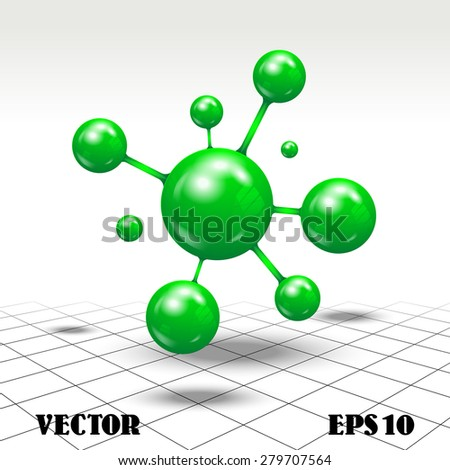Vector illustration of figure in the form of spherical green bodies like molecules on an abstract background - stock vector