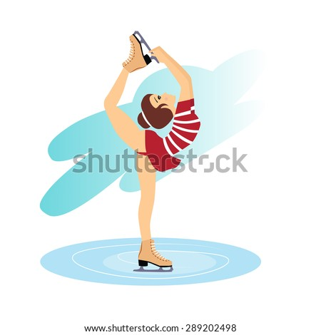 Vector Illustration of figure skating cute girl training on the ice - stock vector