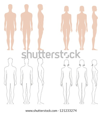 Vector illustration of figures, Set of male and female silhouettes. Front, back and side views - stock vector