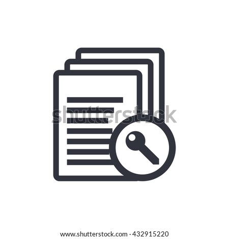 Vector illustration of files access sign icon on white background. - stock vector
