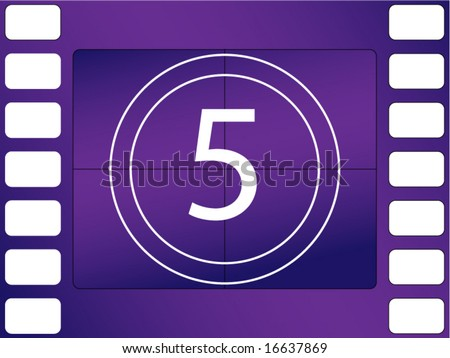 vector illustration of film countdown, number 5