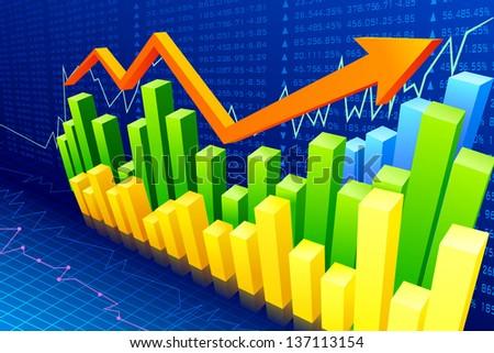 vector illustration of financial bar graph with rising arrow - stock vector