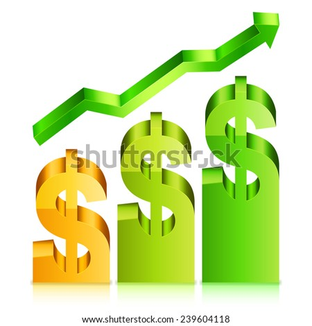 Vector illustration of financial graph displaying rising dollar rate - stock vector