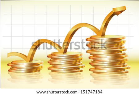 Vector illustration of financial success and business success - stock vector