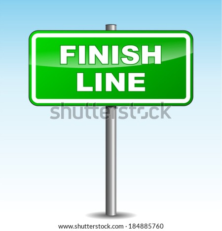 Vector illustration of finish line signpost on sky background