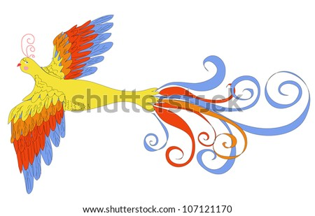 vector illustration of firebird made with graphic table - stock vector