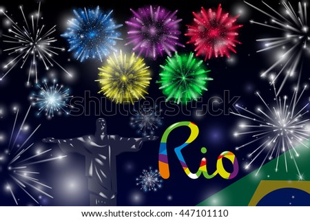 Vector Illustration of Fireworks. Realistic colored firecrackers on a black background. Lettering Rio. Sport concept banner. 2016 Brazil.