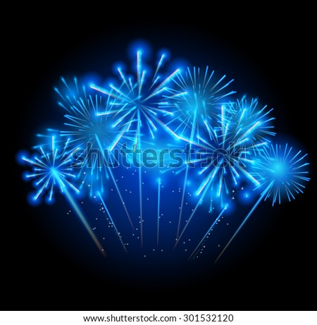 Vector Illustration of Fireworks, Salute on a Dark Background EPS10