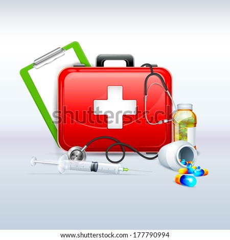 vector illustration of first aid box with capsule and stethoscope - stock vector
