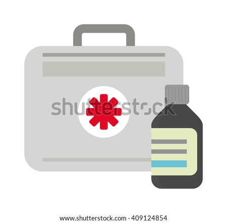 Vector illustration of first aid kit box medical emergency healthcare. Hospital first aid kit equipment and doctor case first aid kit. Safety accident bag first aid kit. Emergency medicine red box. - stock vector