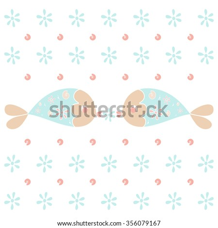 Vector illustration of fish and flowers isolated on white.