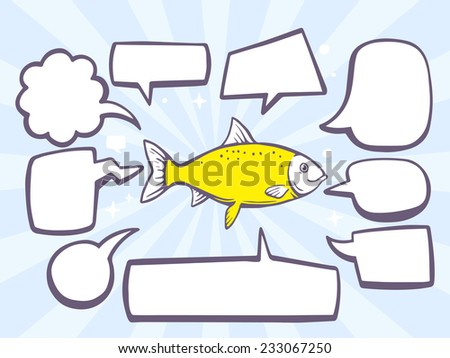Vector illustration of fish with speech comics bubbles on blue background. Line art design for web, site, advertising, banner, poster, board and print. - stock vector