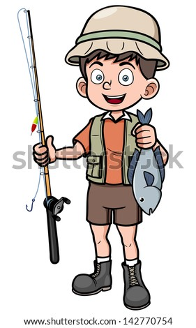 Vector illustration of fisherman holding fish - stock vector