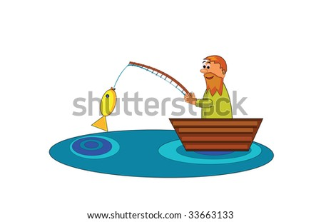 Vector illustration of fisherman in boat.