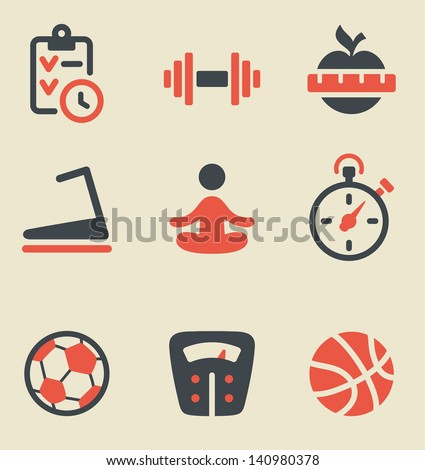 Vector illustration of fitness black and red on light background - stock vector